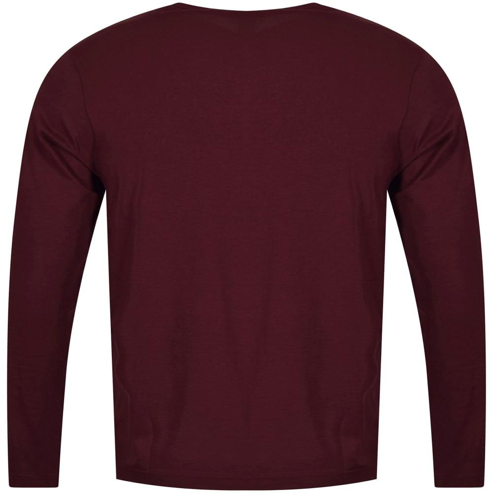 4fc0ad8f75f BOSS Hugo Boss Togn Long Sleeve Burgundy T-Shirt - Men from ...