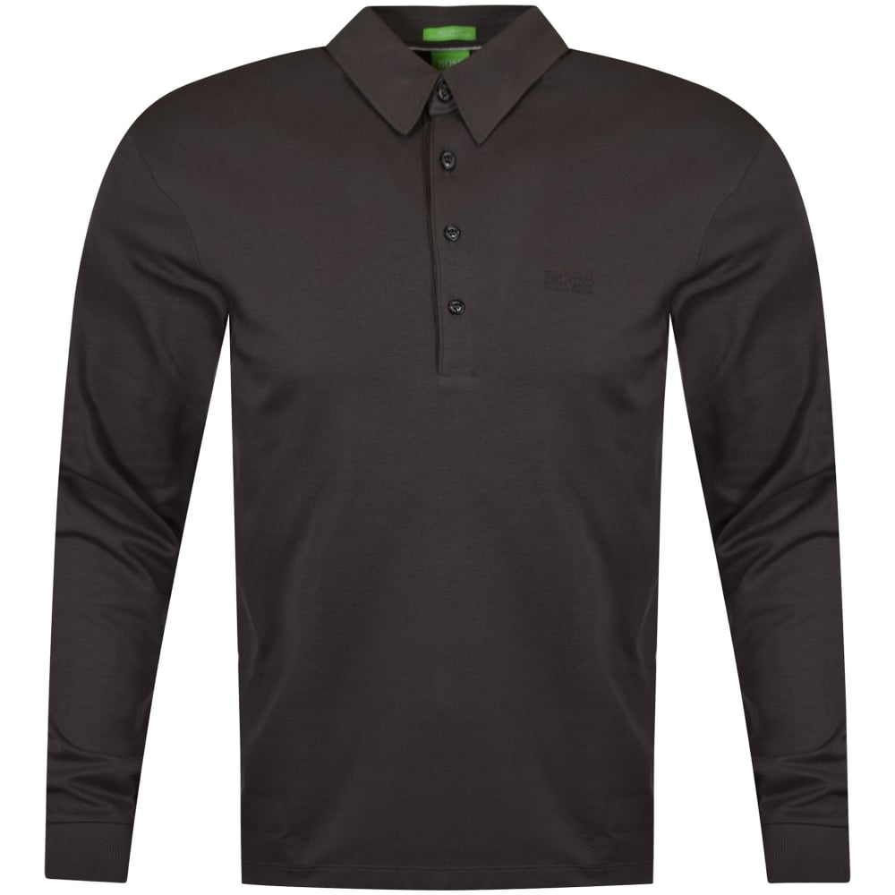 3f6db65f BOSS Hugo Boss Green Mid-Grey Long Sleeve Polo Shirts - Department ...