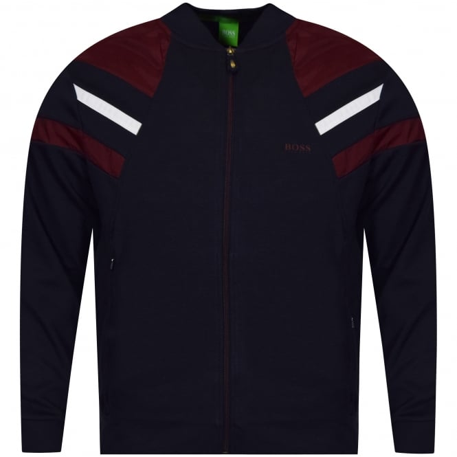 HUGO BOSS GREEN Navy Zip Up Baseball Collar Style Jacket