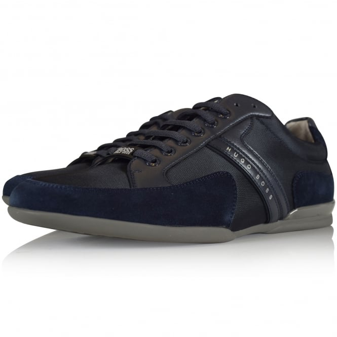 HUGO BOSS GREEN Spacit Navy Leather/Suede Trainer