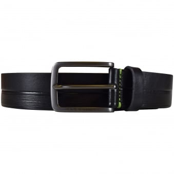 Hugo Boss Green 'Timothy' Black Leather Belt