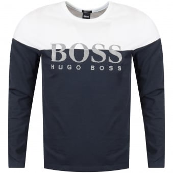 Hugo Boss Green Two-Tone Navy White Long Sleeve Top