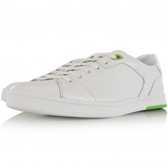 Hugo Boss Green White Leather Check Logo Trainers