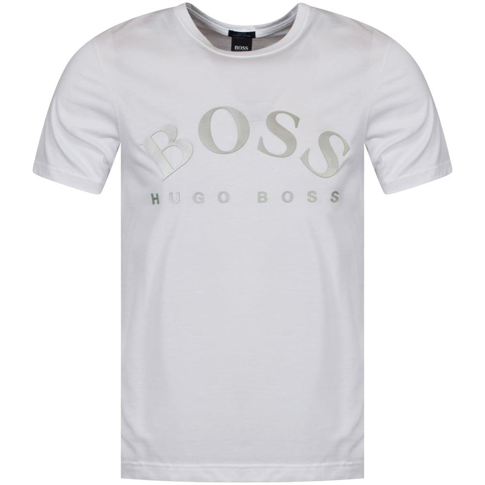 2e179b54 BOSS Hugo Boss Green White Print Logo T-Shirt - Department from ...