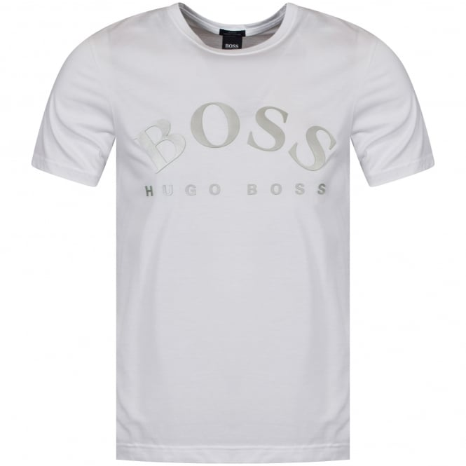 HUGO BOSS GREEN White Print Logo T-Shirt