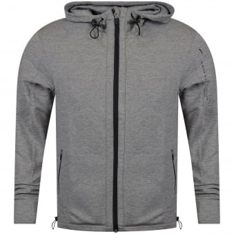 Hugo Boss Grey Longline Sport Zip Through Hoodie