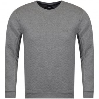 Hugo Boss Grey Zig-Zag Stitch Logo Sweatshirt