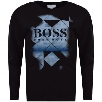 Hugo Boss Junior Black Diamond Print Long Sleeve T-Shirt