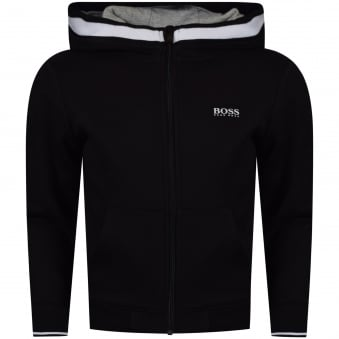 Hugo Boss Junior Black Zip Through Hoodie