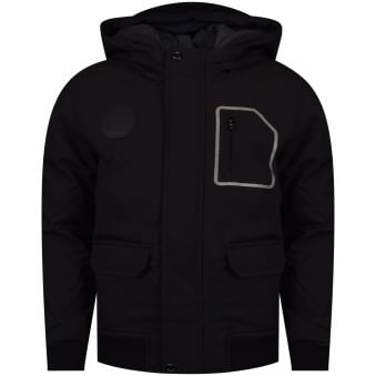Hugo Boss Junior Black Zip Up Coat