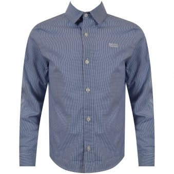 Hugo Boss Junior Blue Checked Logo Shirt