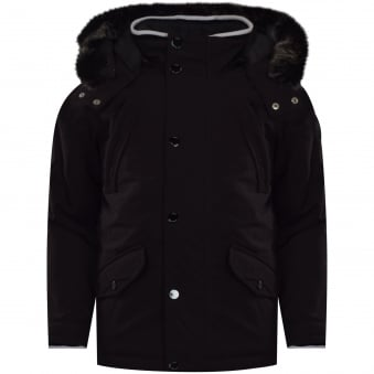Hugo Boss Junior Dark Grey Hooded Coat