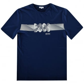Hugo Boss Boys Blue/White Logo T-Shirt