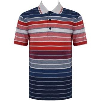 Hugo Boss Junior Navy & Red Stripe Logo Polo Shirt