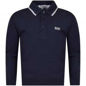 Hugo Boss Junior Navy/White Logo Long Sleeve Polo Shirt