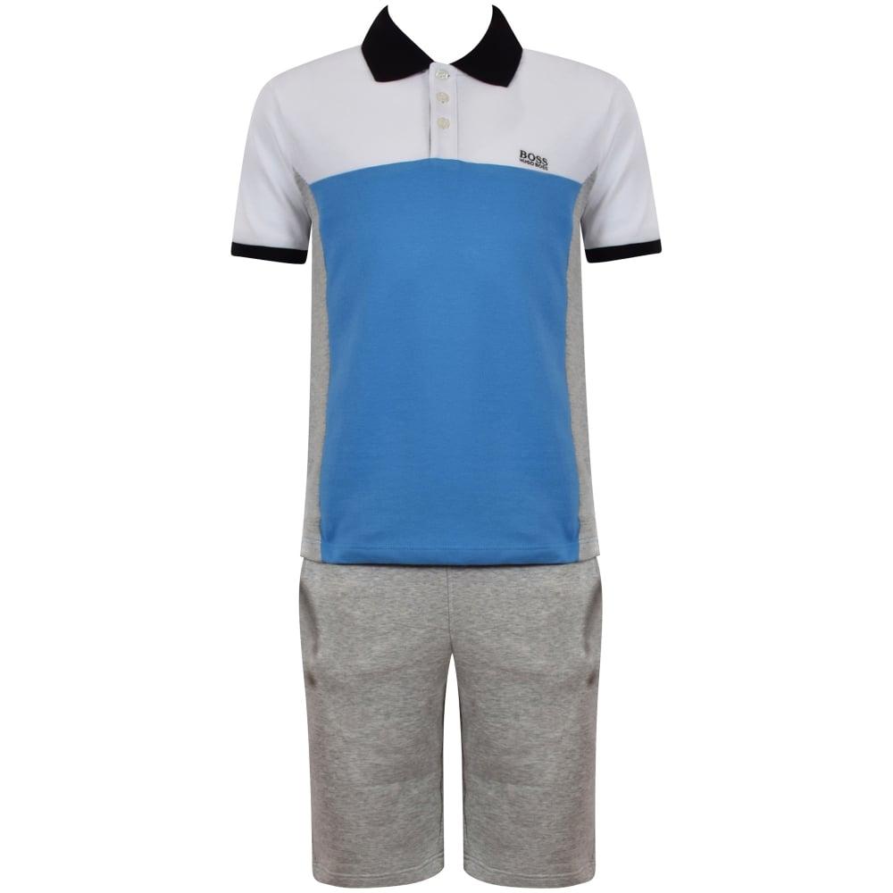 cef2e13d8860 HUGO BOSS JUNIOR Hugo Boss Junior White Blue Grey Polo   Shorts Set ...