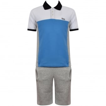 Hugo Boss Junior White/Blue/Grey Polo & Shorts Set