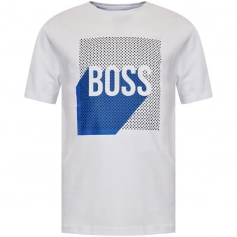 Hugo Boss Junior White/Blue Logo T-Shirt