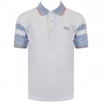 Hugo Boss Junior White/Light Blue Logo Polo Shirt