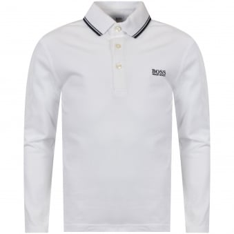 Hugo Boss Junior White Long Sleeved Polo Shirt