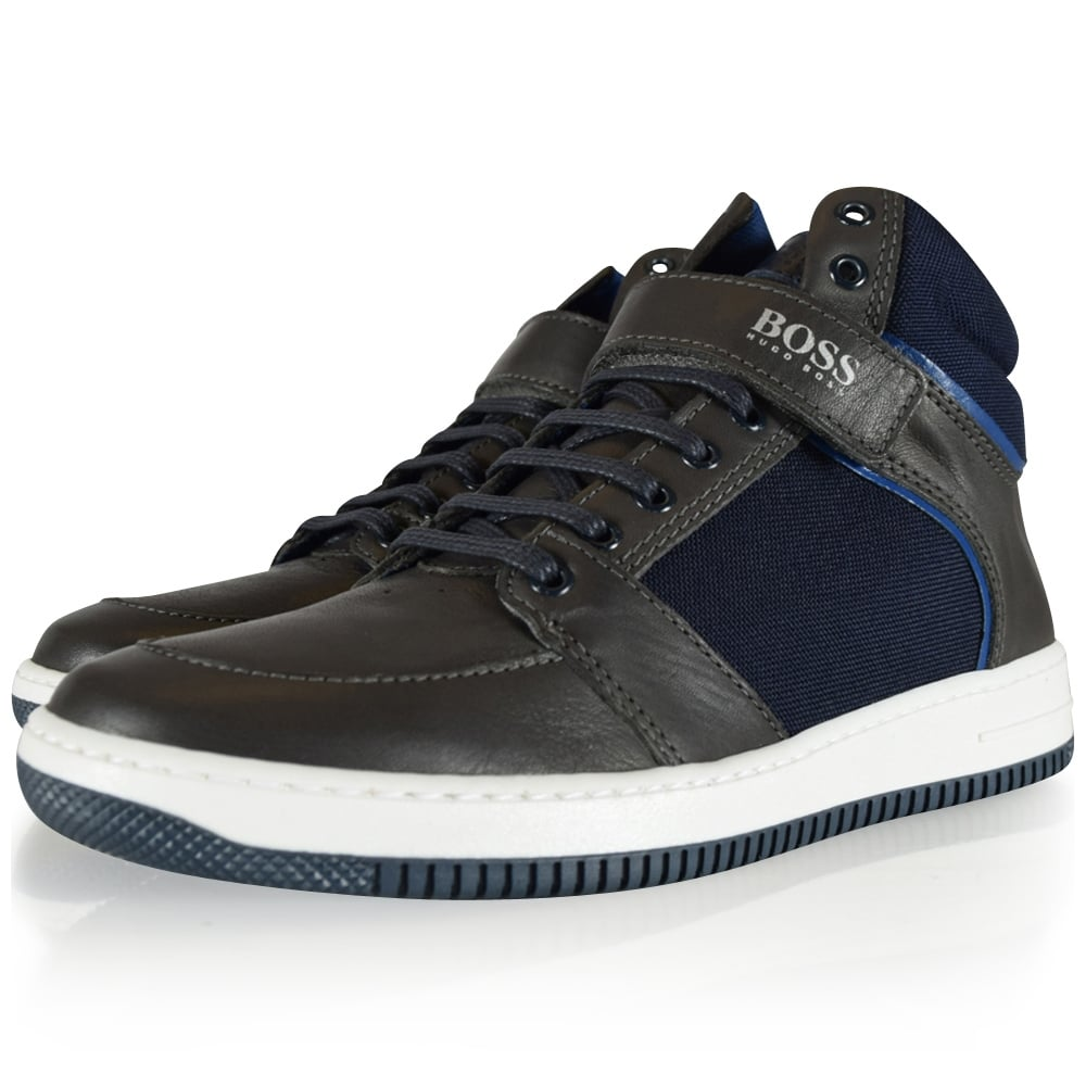 eae7033ee857d HUGO BOSS JUNIOR Hugo Boss Kids Brown Navy Leather High Trainers - Junior  from Brother2Brother UK