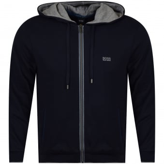 Hugo Boss Navy/Grey Trim Zip Up Hoodie
