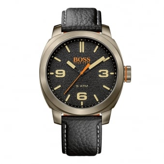 Hugo Boss Orange Black Leather/Gold Bezel Watch