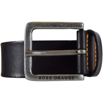 Hugo Boss Orange Black Leather Jeek Belt