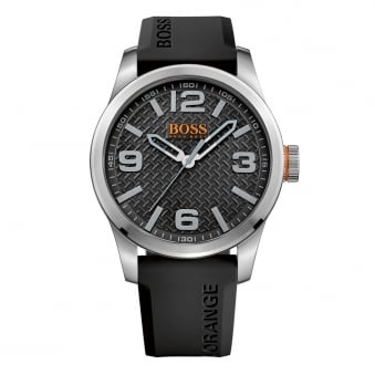 Hugo Boss Orange Black Rubber Strap Logo Watch