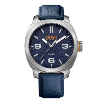 Hugo Boss Orange Blue Grained Leather Watch