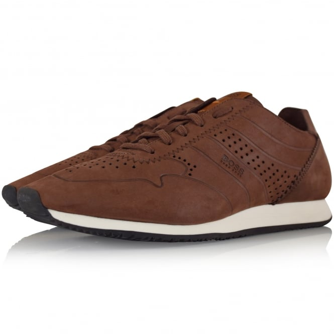 HUGO BOSS ORANGE Brown Nubuck Runner Trainers