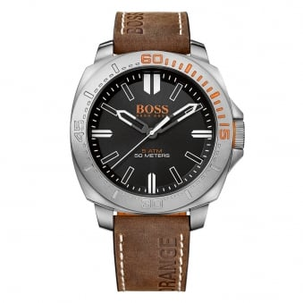Hugo Boss Orange Brown Strap Logo Watch