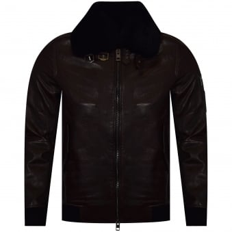 Hugo Boss Orange Dark Brown 'Jarco' Leather Jacket