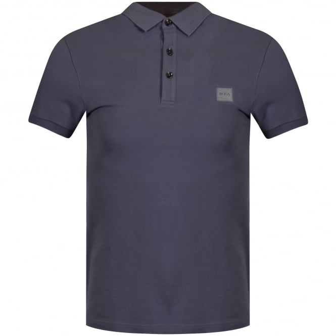 HUGO BOSS ORANGE Washed Navy Logo Polo Shirt