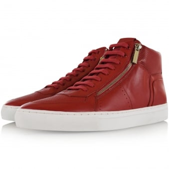 Hugo Boss Red Red Leather Futuzip Hi Top Trainers