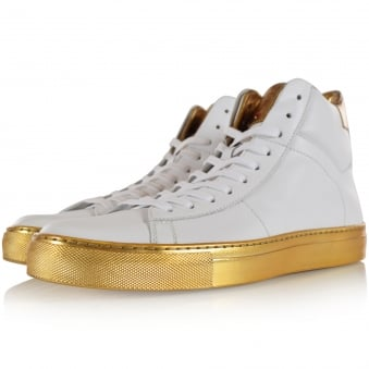 Hugo Boss Red White/Gold Leather Hi Top Aristoc Trainers