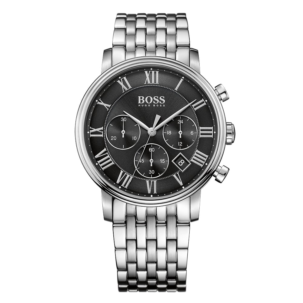 f4bdecce5b7d3 HUGO BOSS WATCHES Hugo Boss Silver Black Dial Watch - Men from ...