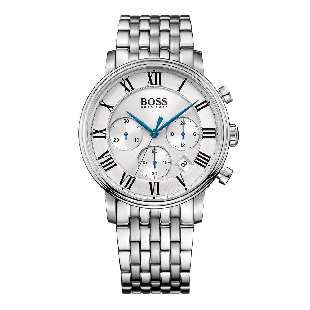 33291372584 HUGO BOSS WATCHES Hugo Boss Silver Blue Detail Watch - Men from ...