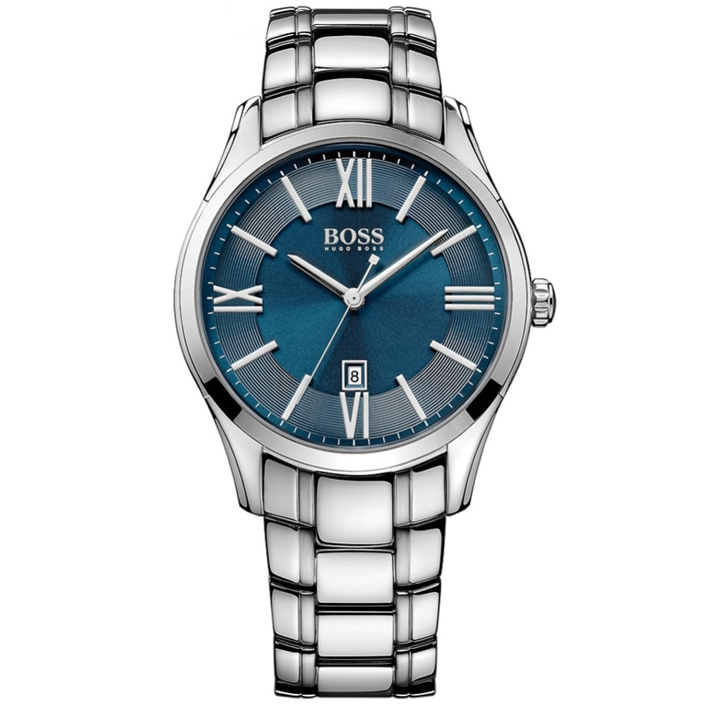 HUGO BOSS WATCHES Hugo Boss Silver Blue Dial Watch - Men from ... 43404ab77