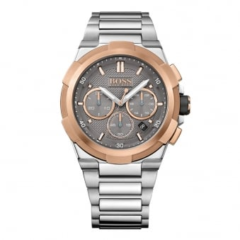 Hugo Boss Silver/Rose Gold Bezel Watch