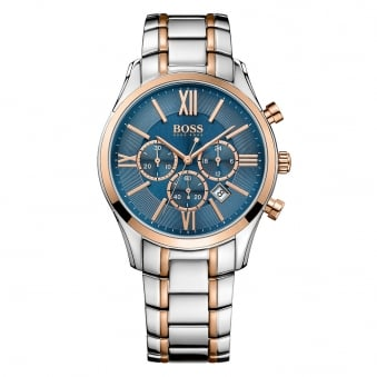 Hugo Boss Silver/Rose Gold Blue Dial Watch