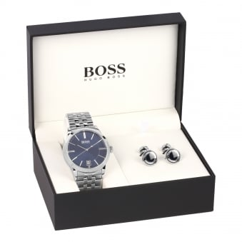 Hugo Boss Silver Watch & Cufflink Set