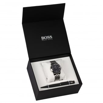 Hugo Boss Silver Watch & Pen Set