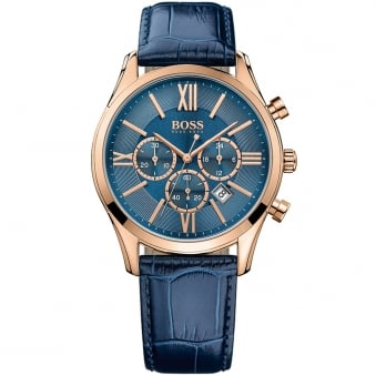 Hugo Boss Blue Leather/Rose Gold Watch