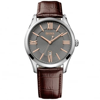 Hugo Boss Brown Leather Grey Dial Watch