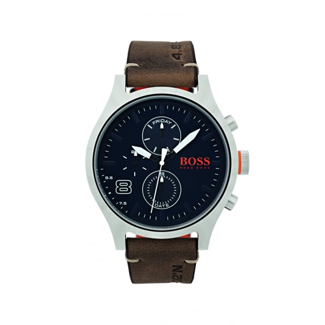 HUGO BOSS WATCHES Hugo Boss Casual Brown Leather Strap Chrono Style Watch