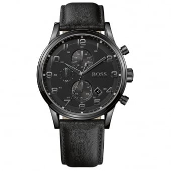 Hugo Boss Leather All Black Watch