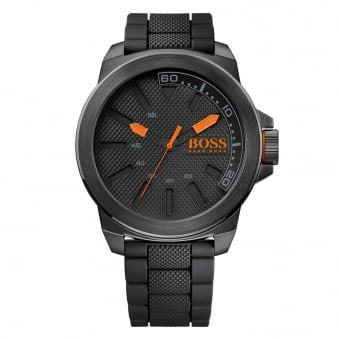 Hugo Boss Orange Black Rubber Large Dial Quartz Watch