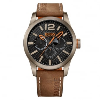 Hugo Boss Orange Brown Tan Logo Strap Watch