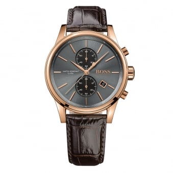 Hugo Boss Rose Gold/Green Leather Watch